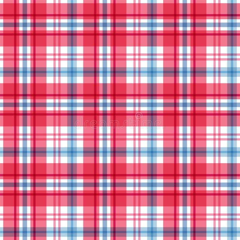 Rood en blauw geruit Schots wollen stof Naadloos patroon Vector royalty-vrije illustratie