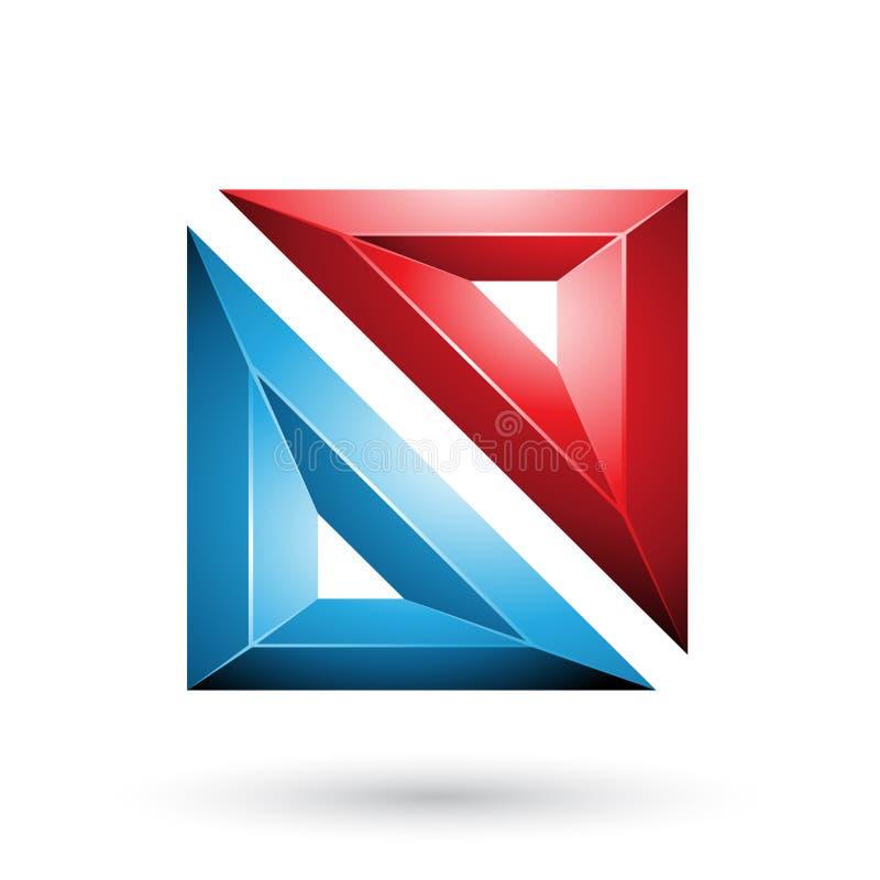 Rood en Blauw Kader zoals In reliëf gemaakte Vierkante die Vorm op een Witte Achtergrond wordt geïsoleerd stock illustratie
