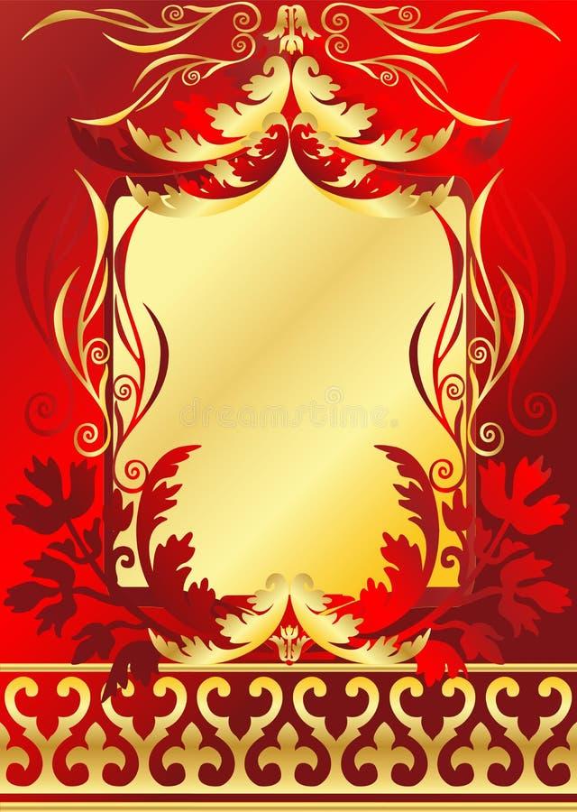Rood en gouden frame royalty-vrije illustratie