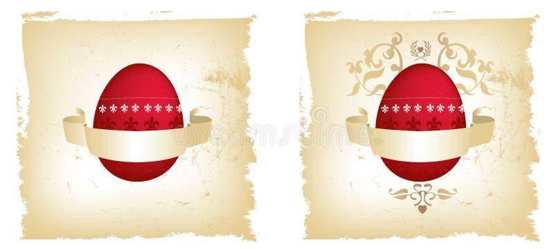 Rood en gouden grungeei van Pasen royalty-vrije illustratie
