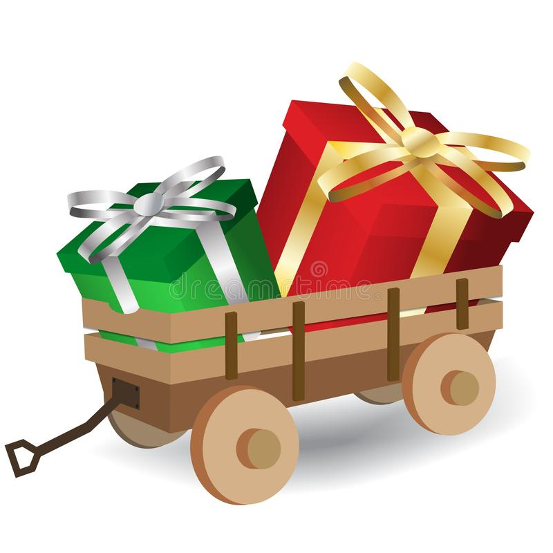 Rood en groen cadeaudoosje in trekhouten karretje royalty-vrije illustratie