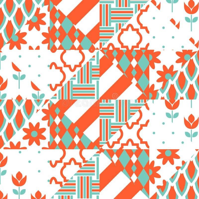 Rood en groen lapwerkpatroon vector illustratie