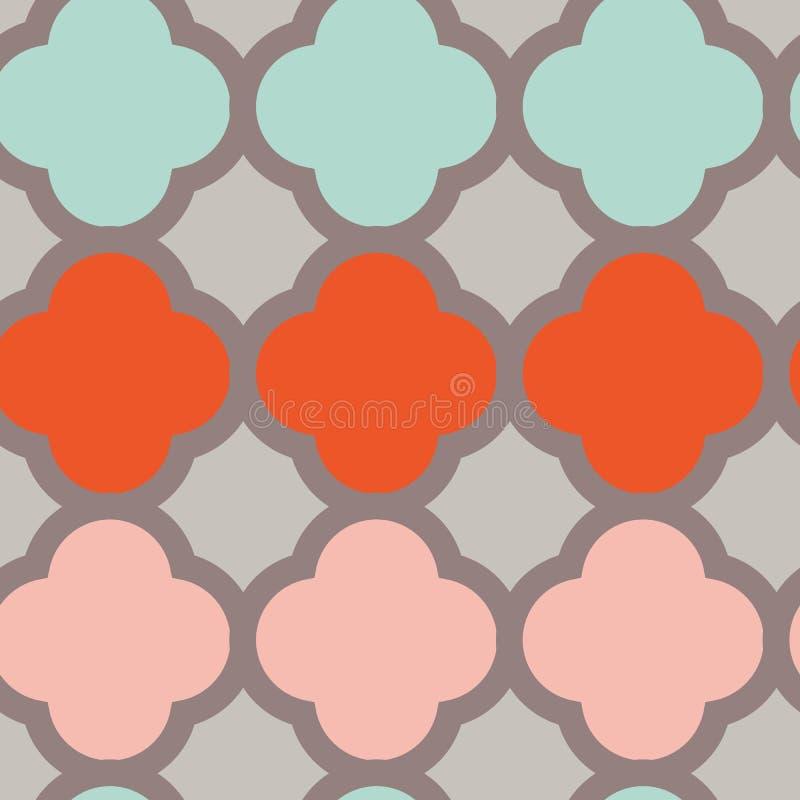 Rood en koraaldiamanten op roze naadloos patroon als achtergrond stock illustratie