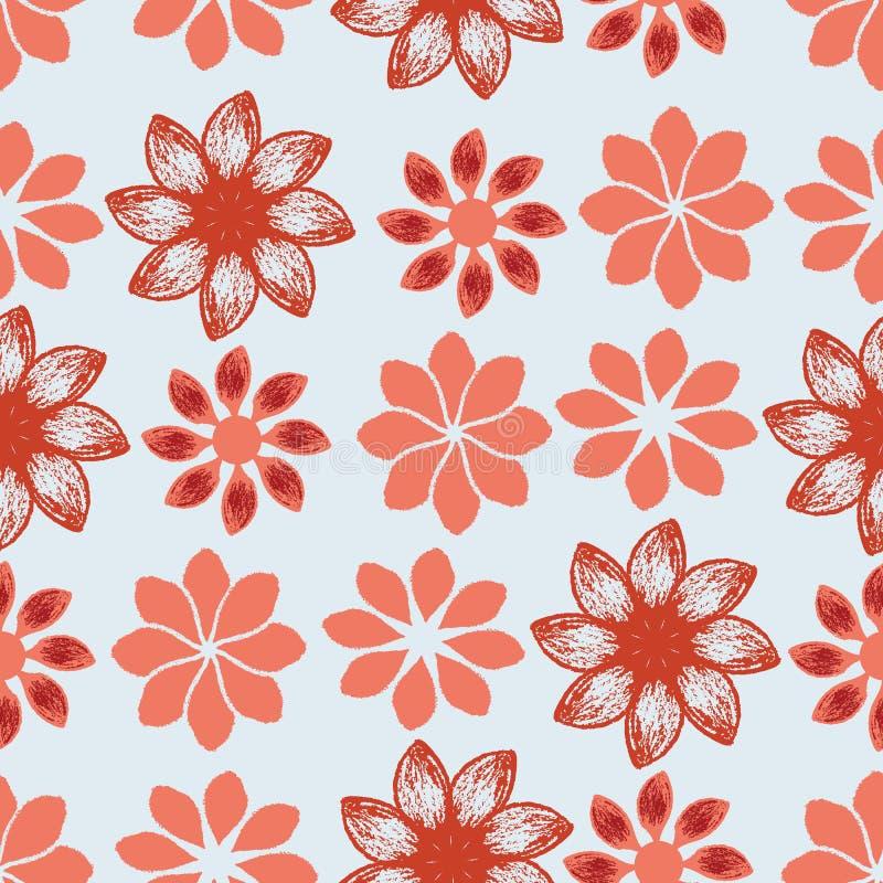 Rood en koraalhand geschilderde bloemen op blauw naadloos patroon als achtergrond stock illustratie