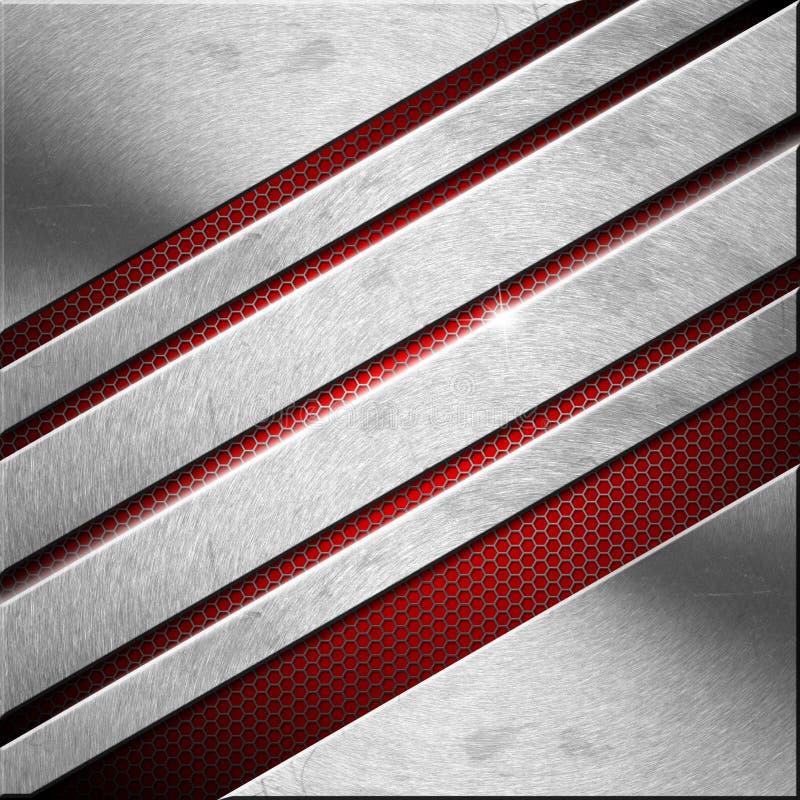 Rood en Metaal Bedrijfsachtergrond - Diagonalen vector illustratie