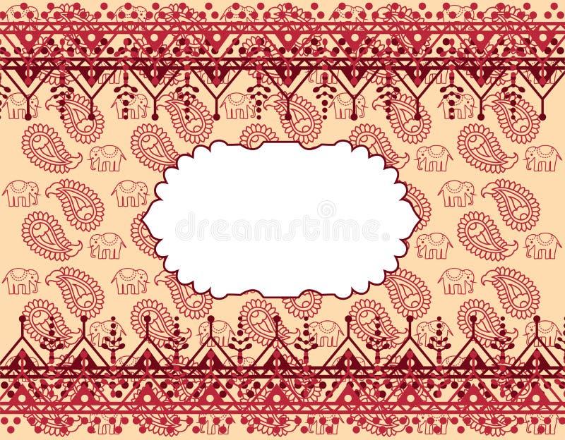 Rood en room oosterse olifant en de hennabanner van Paisley stock illustratie