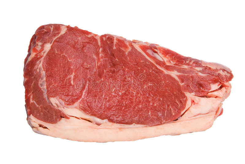 Rood en Smakelijk Lapje vlees dat op witte achtergrond wordt geïsoleerdd royalty-vrije stock afbeeldingen