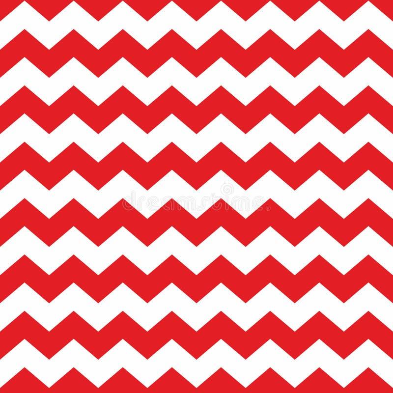 Rood en wit de tegelpatroon van de zigzagchevron vector illustratie