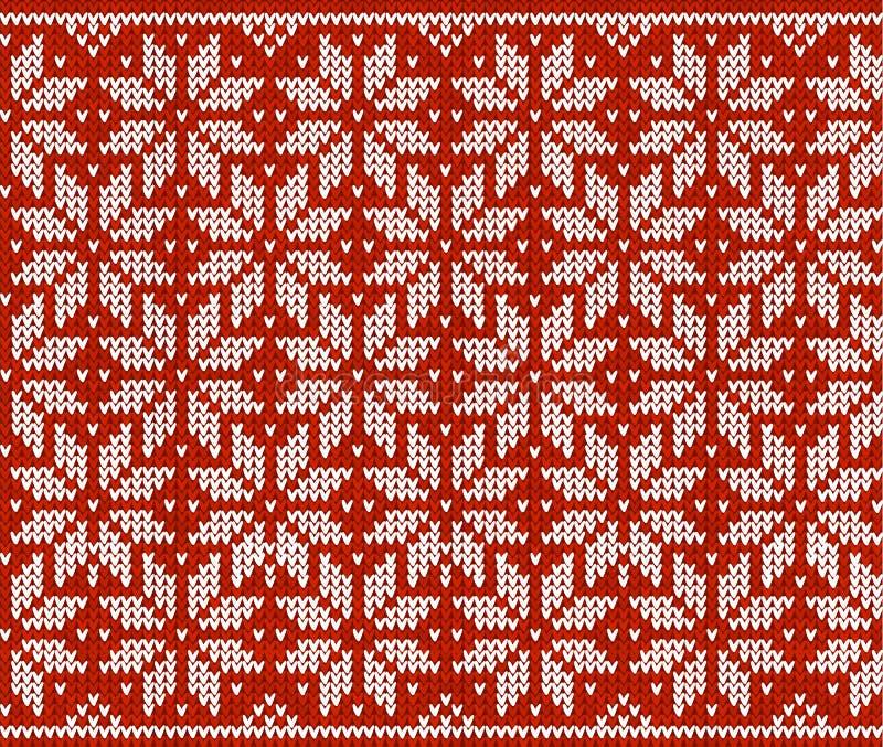 Rood en wit gebreid sneeuwvlokken naadloos patroon vector illustratie