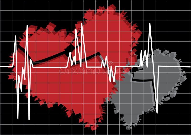 Rood en wit gebroken hart stock illustratie