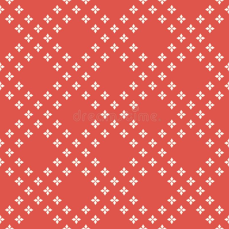 Rood en wit geometrisch minimalistisch naadloos patroon met kleine bloemen, kruisen vector illustratie