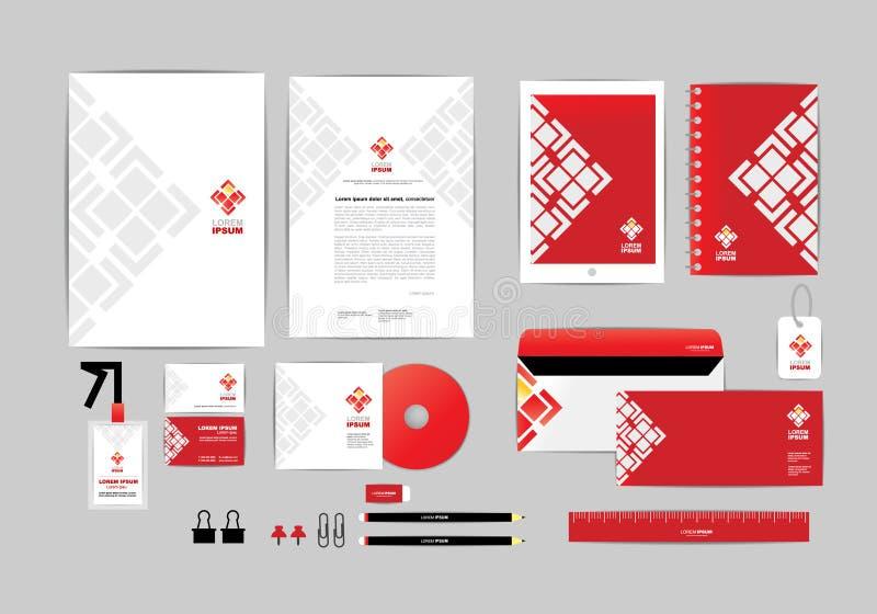 Rood en wit met malplaatje van de driehoeks het collectieve identiteit voor uw zaken G royalty-vrije illustratie