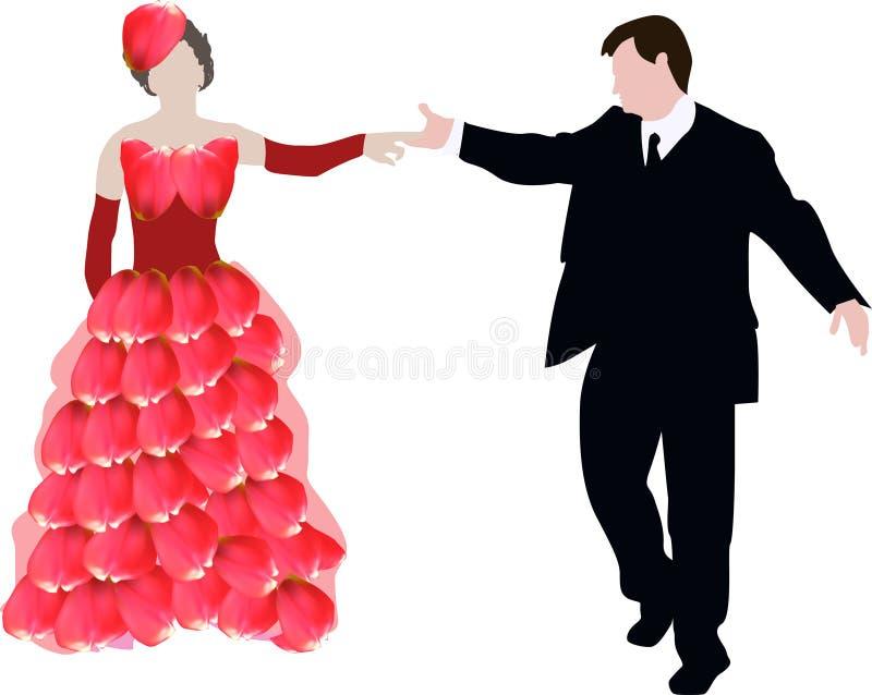 Rood en zwart die huwelijkspaar op wit wordt geïsoleerd royalty-vrije illustratie