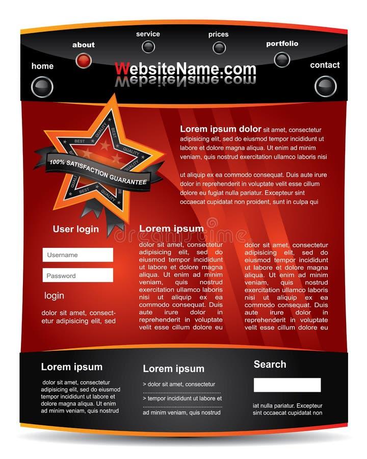 Rood en zwart editable websitemalplaatje royalty-vrije illustratie