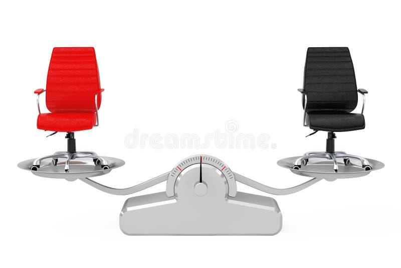 Rood en Zwart Leer Chef- Office Chairs Balancing op Eenvoudig W royalty-vrije illustratie