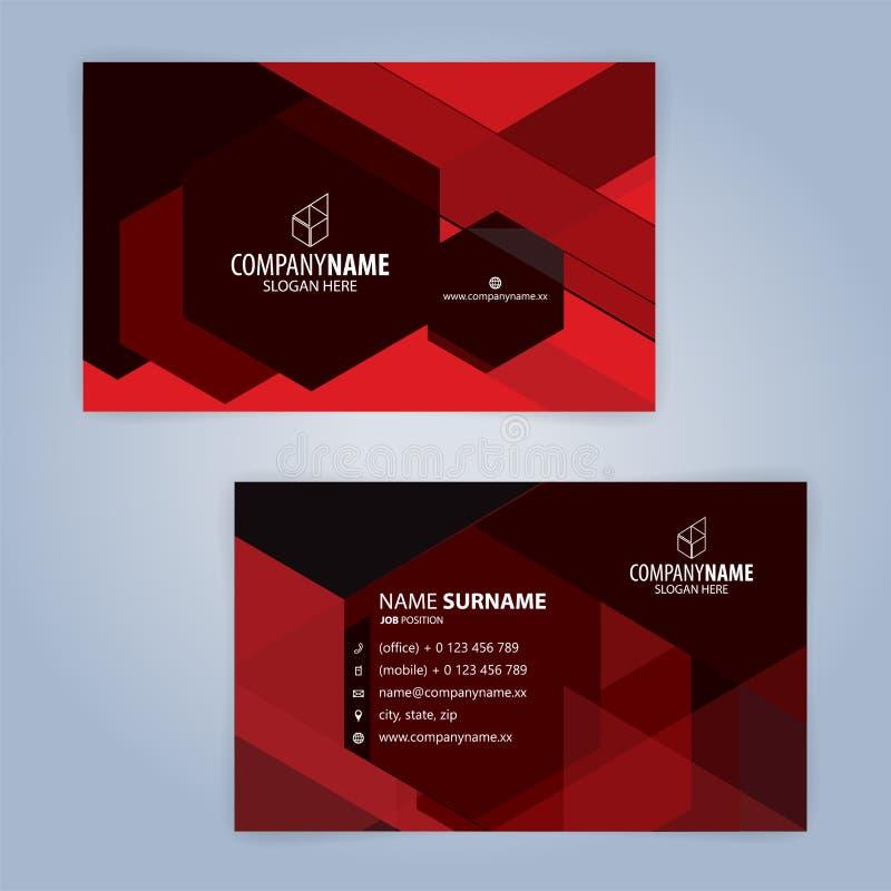 Rood en Zwart modern adreskaartjemalplaatje vector illustratie