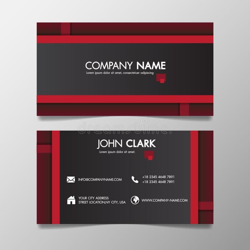 Rood en zwart modern creatief bedrijfs gevormd malplaatje en naamkaart, het horizontale eenvoudige schone vectorconcept van het o stock illustratie