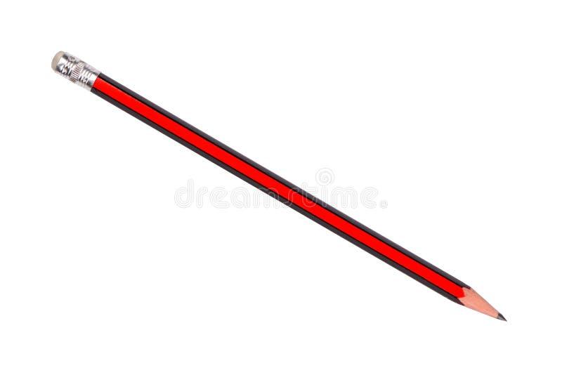 Rood en zwart potlood dat op witte achtergrond wordt geïsoleerdw stock afbeelding