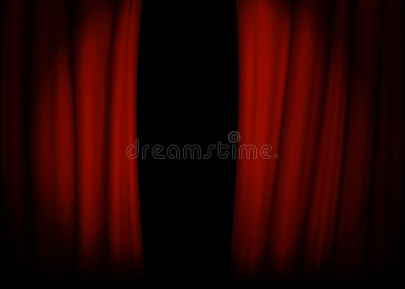 Rood fluweelgordijn met stadium Schijnwerper op stadiumgordijn Vector illustratie royalty-vrije illustratie
