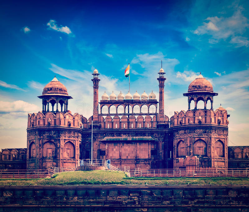 Rood Fort (Lal Qila). Delhi, India stock afbeeldingen