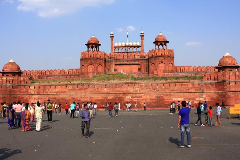 Rood Fort New Delhi India stock foto's