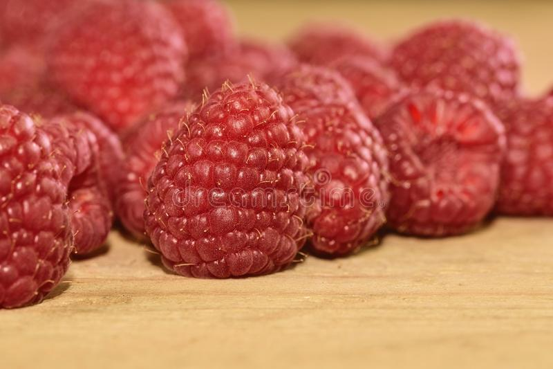 Rood-Fruited frambozen op houten achtergrond Frambozenachtergrond Close-up stock afbeelding
