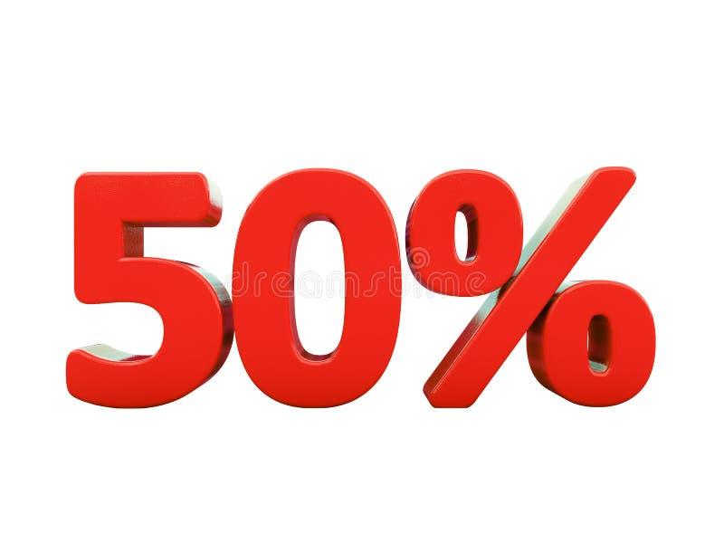 50 rood Geïsoleerd Percententeken vector illustratie