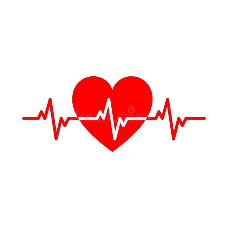 Rood geïsoleerd pictogram van hart met witte impulslijn op witte achtergrond Silhouet van hart Vlak Ontwerp Symbool van gezond royalty-vrije illustratie