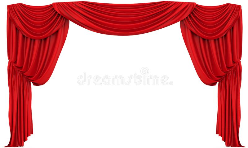 Rood Geïsoleerd Theatergordijn royalty-vrije illustratie
