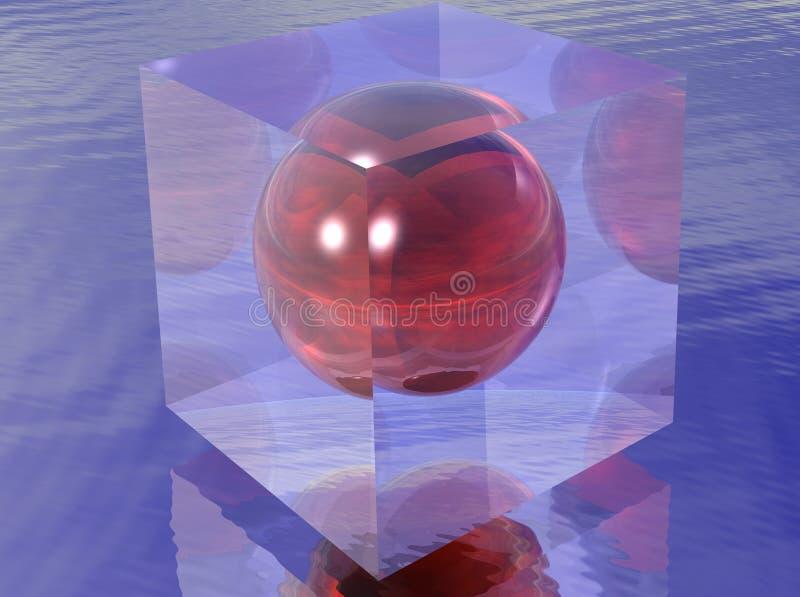 Rood gebied in een transparante kubus vector illustratie
