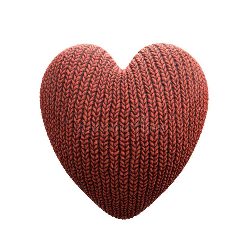 Rood gebreid hart stock illustratie