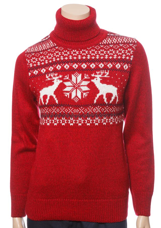 Rood gebreide kersttleneck sweater op vrouwelijk mannequin geïsoleerd op wit royalty-vrije stock foto's