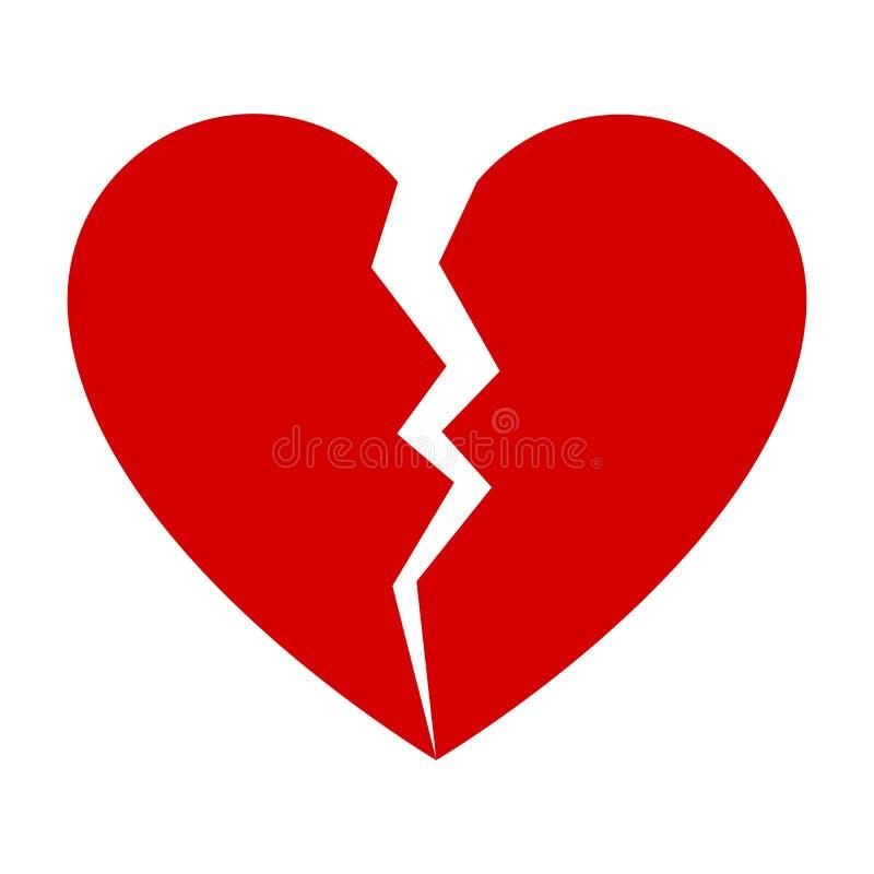 Rood gebroken hart stock illustratie