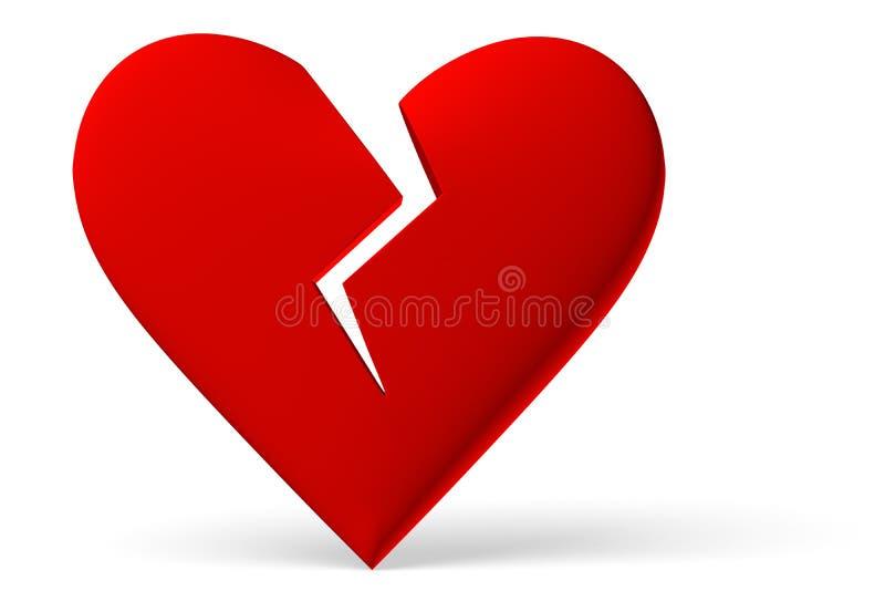 Rood gebroken hartsymbool stock illustratie