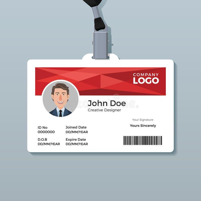 Rood Geometrisch Identiteitskaartmalplaatje royalty-vrije illustratie