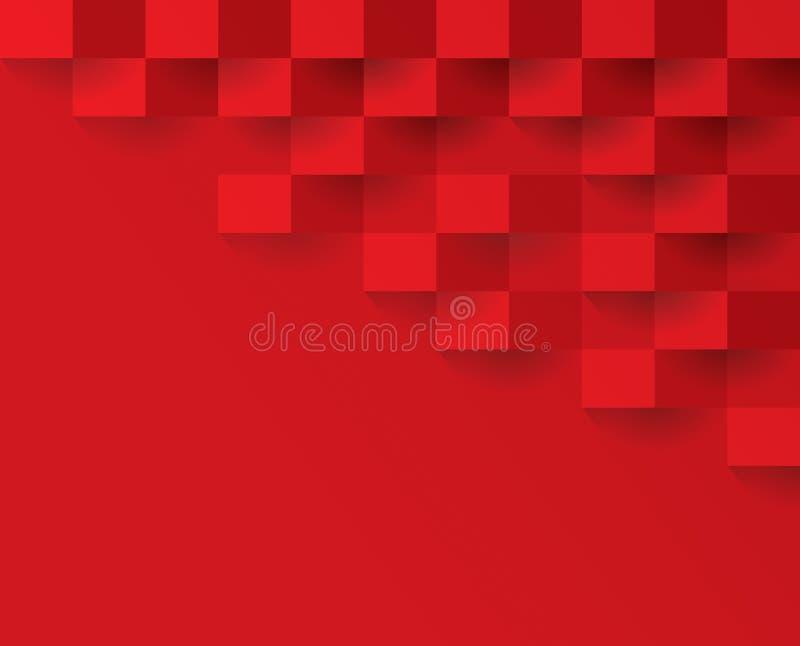Rood geometrisch patroon, abstract malplaatje als achtergrond stock illustratie