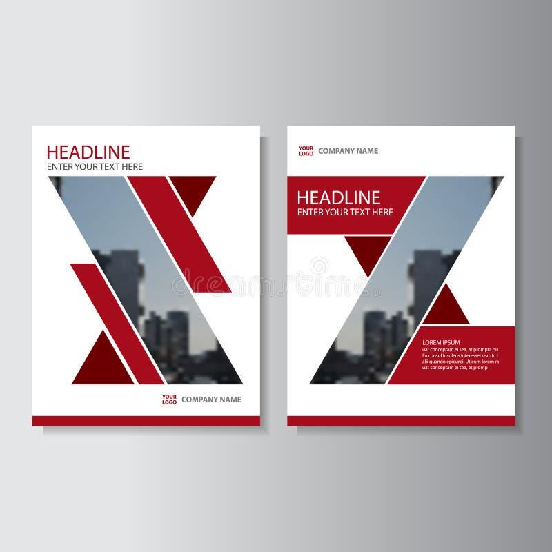 Rood geometrisch Vector van de de Brochurevlieger van het jaarverslagpamflet het malplaatjeontwerp, de lay-outontwerp van de boek royalty-vrije illustratie