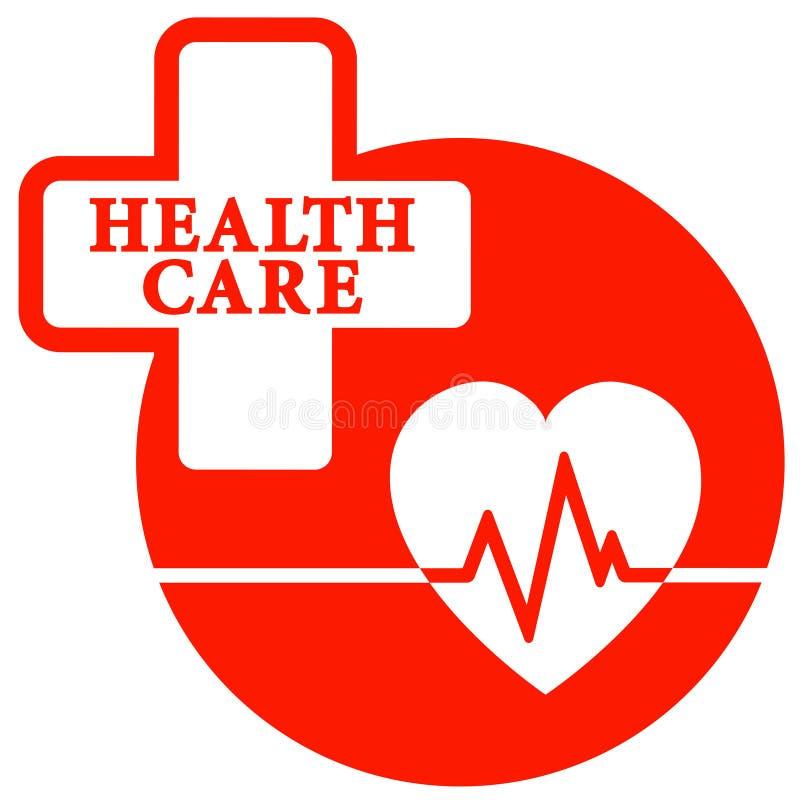 Rood gezondheidszorgpictogram met hart royalty-vrije illustratie