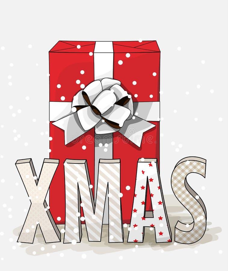 Rood giftvakje met groot wit lint en brievenkerstmis, Kerstmisillustratie vector illustratie