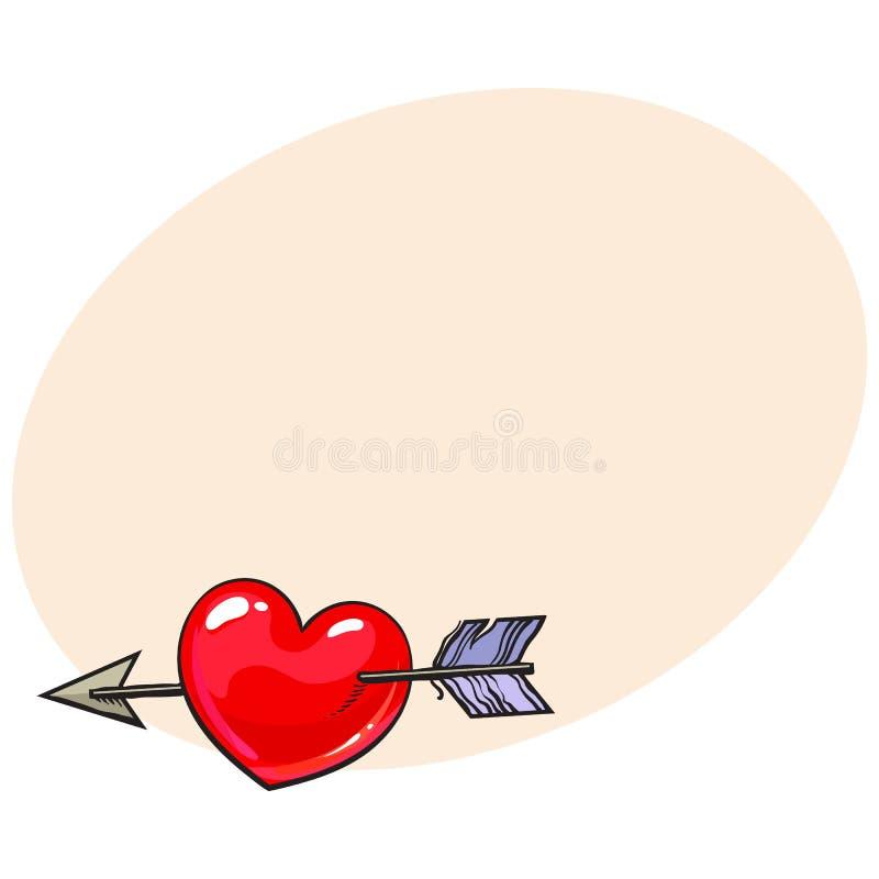 Rood glanzend beeldverhaalhart dat door Cupidopijl wordt samengevoegd, liefdesymbool vector illustratie