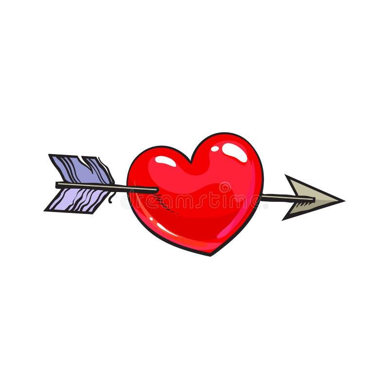 Rood glanzend beeldverhaalhart dat door Cupidopijl wordt samengevoegd, liefdesymbool royalty-vrije illustratie