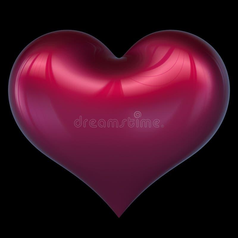 Rood glanzend de Liefdesymbool van de hartvorm De groetkaart van het huwelijkshuwelijk vector illustratie