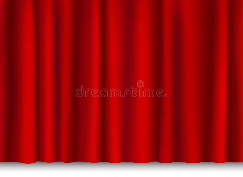 Rood glanzend gordijn royalty-vrije illustratie