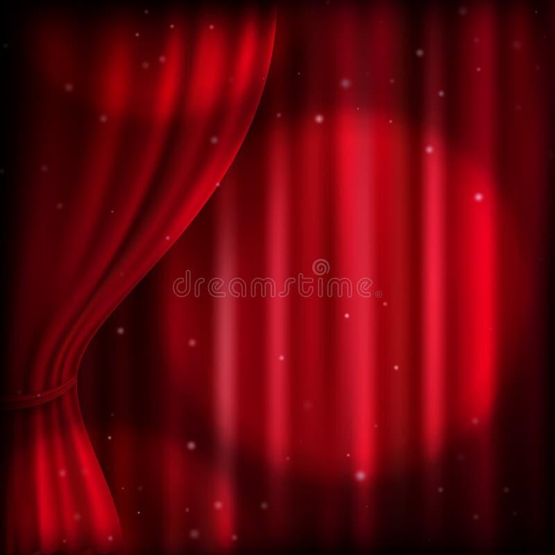 Rood gordijn en vleklicht Eps 10 vector illustratie
