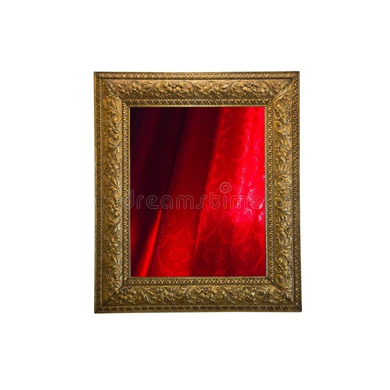 Rood gordijn in het kader stock foto's