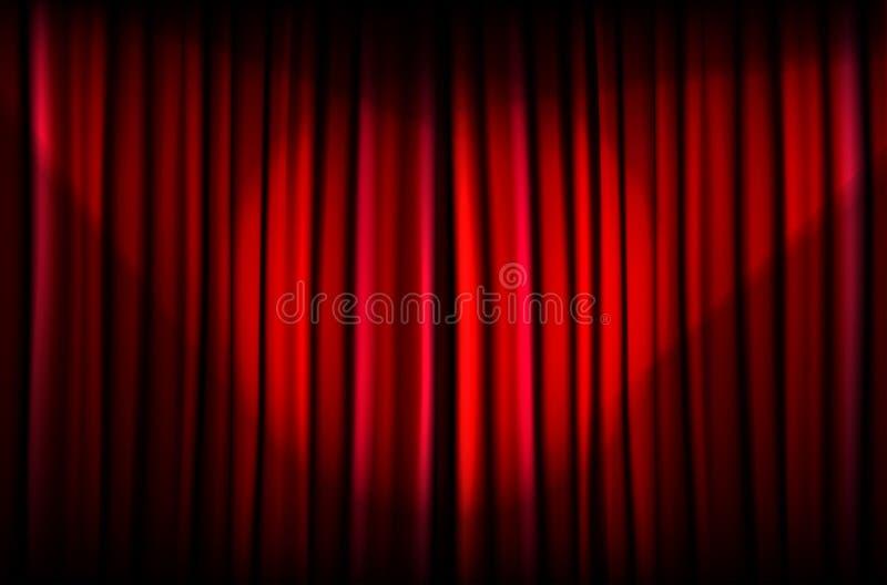 Rood gordijn met lichtstralen royalty-vrije illustratie