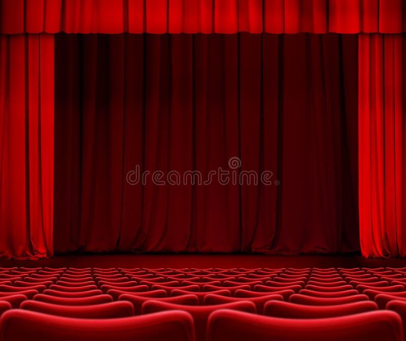 Rood gordijn op theaterstadium met zetels 3d illustratie royalty-vrije stock afbeelding