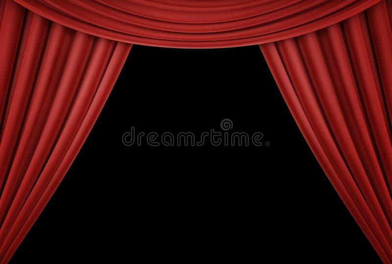 Rood gordijn van een klassiek theater dat op zwarte achtergrond wordt geïsoleerd 3d geef terug stock foto