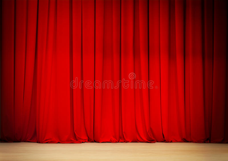 Rood gordijn van theaterstadium royalty-vrije stock afbeeldingen