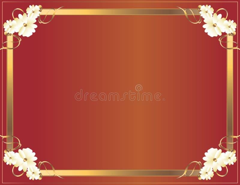 Rood Gouden bloemframe vector illustratie